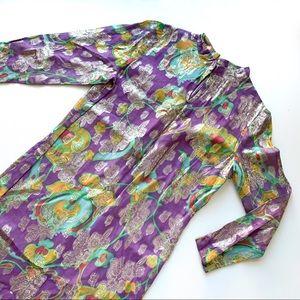 Vintage Maxi Dress Tunic Purple Gold Metallic S